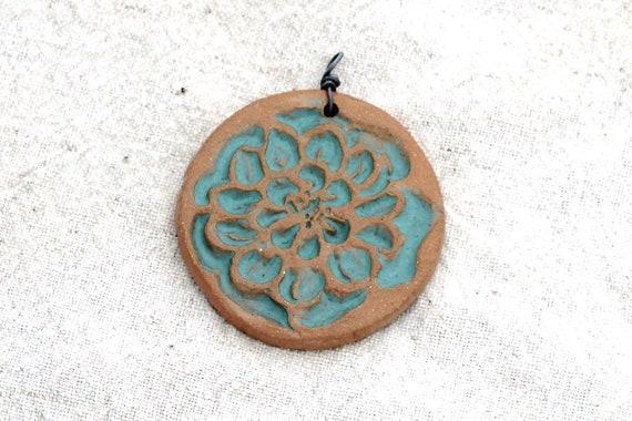 Turquoise Dahlia Flower Pendant Pottery