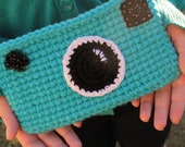 Handmade Teal Camera Crochet Clutch
