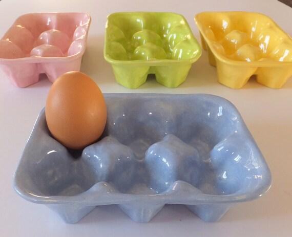 Ceramic Egg Tray Blue Egg Box Baking Pottery Kitchenware