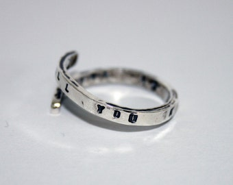 The Beatles Lyric Ring- Sterling Silver 'All you need is love, Love is all you need.'