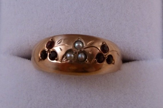 For Audrey// ON SALE until 10-15/// Antique Victorian Garnet and Seed Pearl Clover Shamrock Band 9ct