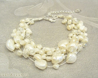 Multistrand white freshwater pearl bracelet with crystal on silk thread, wedding jewelry, bridal bracelet