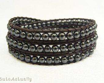 Hematite triple wrap bracelet on leather cord