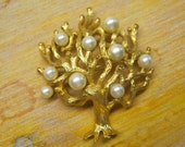 Trifari brooch-Vintage Tree of Life gold tone and pearl pin