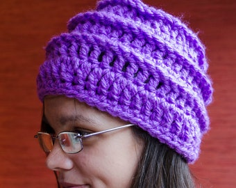 Purple beanie hat beret