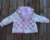 Recycled Vintage Quilt -  Reversible Girls Hooded Adorable Jacket