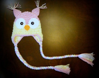 Pink & Yellow Owl Earflap Handmade Custom Crochet Beanie Hat Newborn Baby Photo Prop