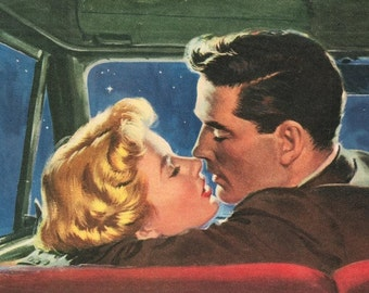 Fridge Magnet Couple Kissing in car Romance Love at night 1950's style