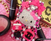FREE US SHIPPING Hello Kitty Loves chanel hot pink and white case fro iphone 4 or 4s