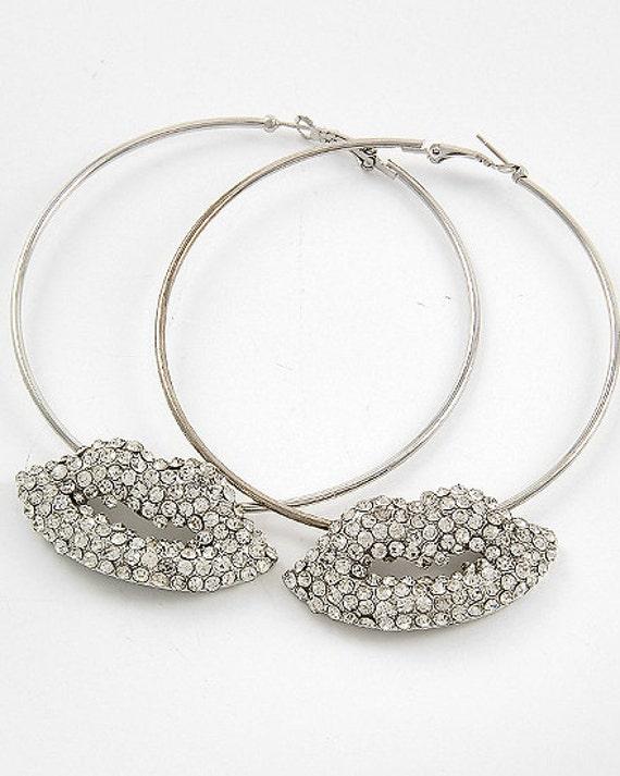 Rhinestone Lips Crystal Hoop Earrings
