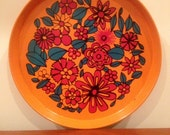 SALE-1960's Flower Power Collectors Beer Tea Tray Wall Decor