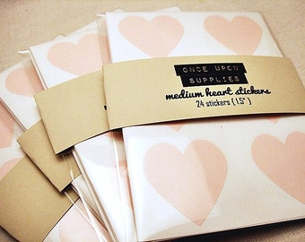 24 Pastel Pink Heart Stickers 1.5""