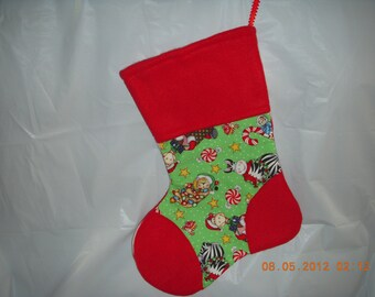 Pet Christmas Stocking - Christmas bazoople friends cotton print with red fleece on the heel, toe and top.