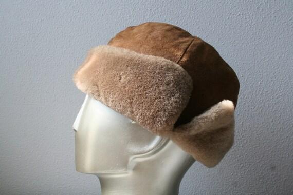 "Men's bomber hat, faux fur men's hat, vintage trapper hat in brown, size 23"" (58cm), men's winter fashion, Russian style"