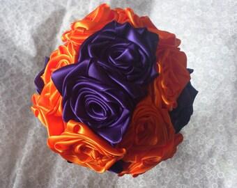 Medium Purple and Orange Ribbon Rose Bouquet