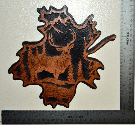 Deer Forest Leaf Scroll Saw Wall Plaque