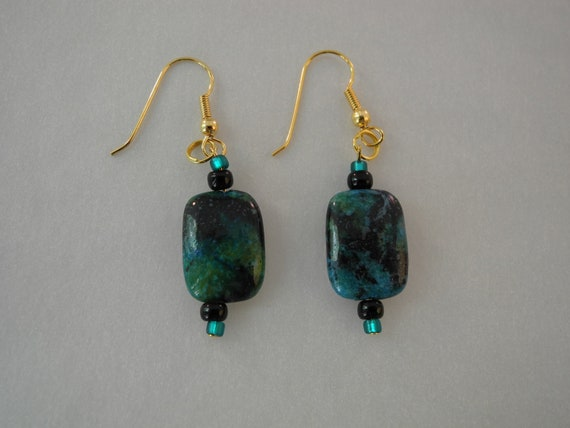 Turquoise Stone and Beaded Earrings