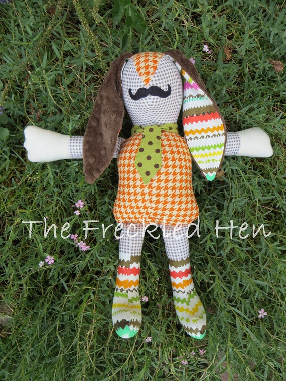 "OOAK 13 1/2"" Mustached Boy Bunnykin - Brown/White Checked, Orange and Multi Striped"