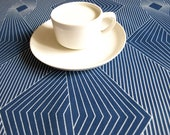 Table runner navy blue with white graphic lines , also napkins available, great GIFT