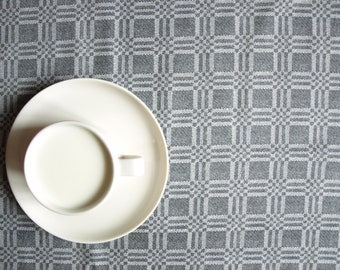 Tablecloth dark grey with white checkered tablecloth , also napkins , table runner , pillow cover , curtains available, great GIFT