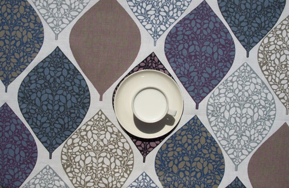 Tablecloth White Blue Grey Beige Purple Leaves Table Runner
