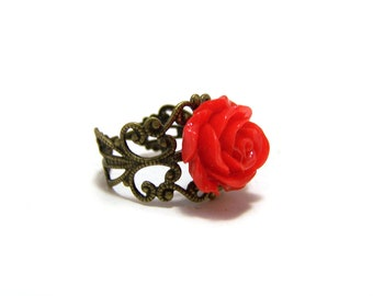 Romantic Red Rose Resin Cabochon Flower Antiqued Brass Filigree Adjustable Ring / Gift for Her