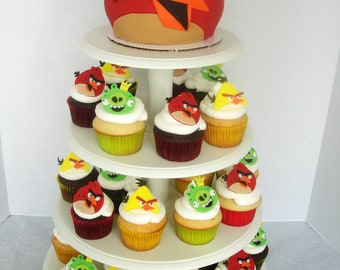 Set of 12 Angry Buddies Edible Cupcake Toppers Fondant Birds and Pigs