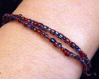 Purple, Blue and Red Beaded Wrap Bracelet