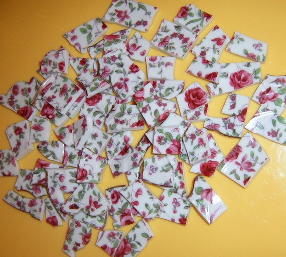 RESERVED  for Jeanette     Broken China Mosaic Tiles,  RoseChintz, Hand Cut, Mosaic Supplies,