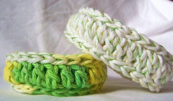 Cotton Crochet Fiber Bangle Bracelets with Soft Metallic Thread Bright White and Variegated Citrus Set of Two