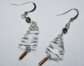 Sterling Silver wirewrapped Christmas Tree Earrings