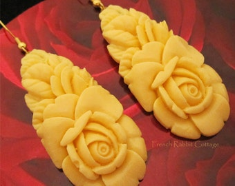 FLORAL DANGLE EARRINGS. Vintage Style Faux Carved Celluloid Jewelry. Statement Earrings. Faux Carved Ivory Roses. Spring. Bride. Wedding