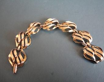 Vintage Jewelcraft Chunky Goldtone Panel Bracelet - Bridal, Special Occasion