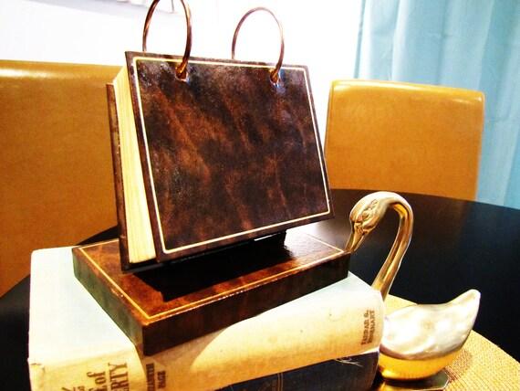 vintage rolodex brown leather photo album. desk accessory. dorm decor