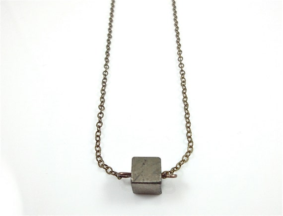Pyrite Necklace Single Pyrite Cube Bead Dainty Minimalist