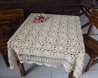20% off   Handmade  Crocheted Tablecloth