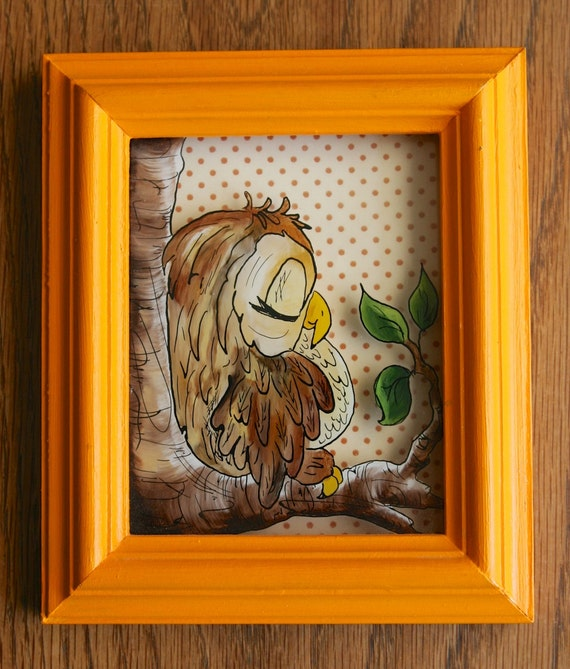 Adorable sleepy owl art on glass framed