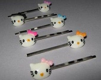 CLEARANCE 6 Piece Set Kitty Bobby Pin Set