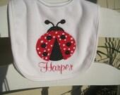 Appliqued & Embroidered Ladybug terry cloth bib