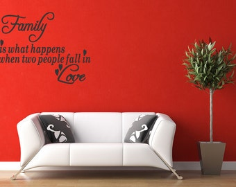 "Family Is What Happens When Vinyl Wall Decal Words Lettering Quote Saying 24"" Letters Decals Wall Quote Removable Letters (B11)"