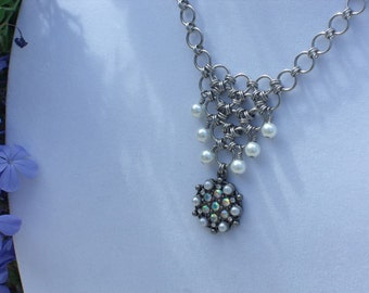 Modern Pearl Chainmaille Necklace