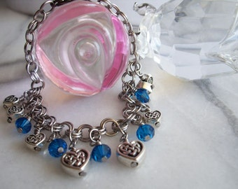 Celtic Heart and Swarovski Chainmaille Charm Bracelet