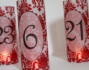 Damask Table Number Luminaries,  Damask Wedding Decor, Damask Wedding Luminaries, You choose the color- Set of 30