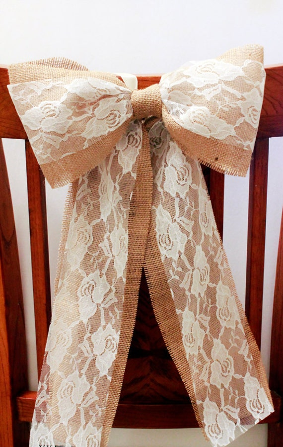 Burlap and lace rustic pew bow set of 5 burlap and lace - Bow decorations for weddings ...
