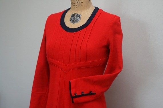 French 1960's Vintage Mod Dress in Red & Navy. Fitted bodice with pleats in ponte knit