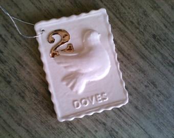 Two Turtle Doves Porcelain Christmas Ornament