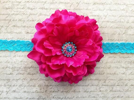 Hot Pink Silk Flower Clip with Turquoise Lace headband- Baby Girl Headband - Toddler Headband - Adult Headband -