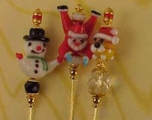 3 Different Christmas Hat Pins 6 inches long Santa, Snowman, Holiday, Stocking, Souvenir...Assorted Lampwork Beads Findings Supplies..S30