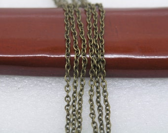 32ft of 2x3mm Round Link,Antique Brass Plated Iron Cross Round Cable Chain--Unsoldered