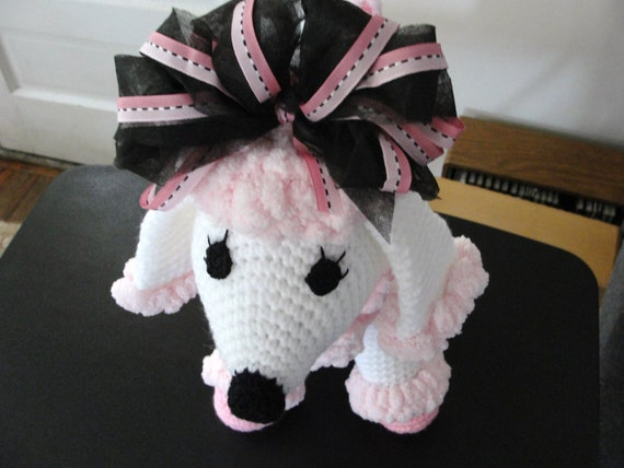 Pink and White crocheted French Poodle ON SALE